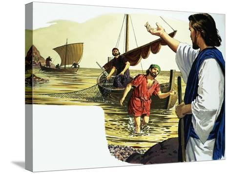 Jesus Christ with Fisherman-English School-Stretched Canvas Print