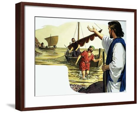 Jesus Christ with Fisherman-English School-Framed Art Print