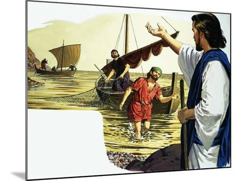 Jesus Christ with Fisherman-English School-Mounted Giclee Print