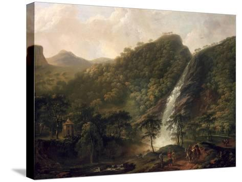 View of Powerscourt Waterfall-George Barret-Stretched Canvas Print