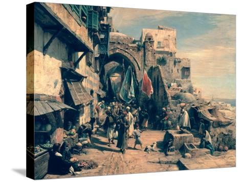 A Street Scene in Jaffa, 1890-Gustav Bauernfeind-Stretched Canvas Print