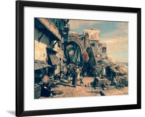 A Street Scene in Jaffa, 1890-Gustav Bauernfeind-Framed Art Print