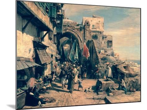 A Street Scene in Jaffa, 1890-Gustav Bauernfeind-Mounted Giclee Print