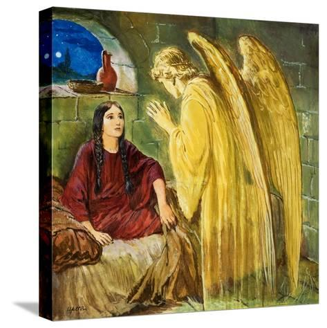 The Angel with Wonderful News-Clive Uptton-Stretched Canvas Print