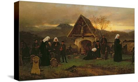 All Soul's Day in the Cemetery-Ludwig Friedrich Wilhelm Riefstahl-Stretched Canvas Print