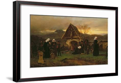 All Soul's Day in the Cemetery-Ludwig Friedrich Wilhelm Riefstahl-Framed Art Print