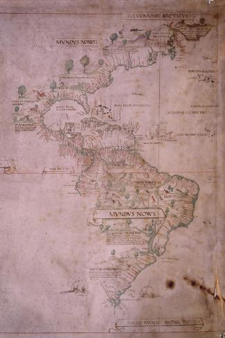 Map of the New World, C.1532--Stretched Canvas Print