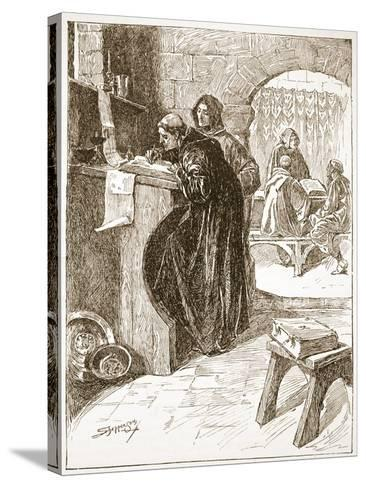 The Scriptorium of a Monastery-Claude Allinson Shepperson-Stretched Canvas Print