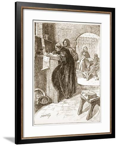 The Scriptorium of a Monastery-Claude Allinson Shepperson-Framed Art Print