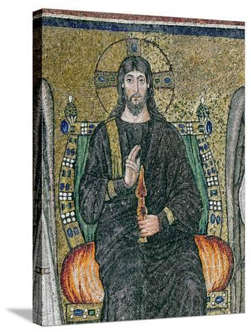 Christ Enthroned with the Angels-Byzantine School-Stretched Canvas Print