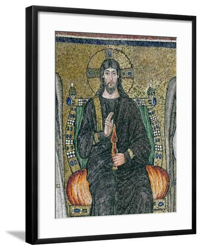 Christ Enthroned with the Angels-Byzantine School-Framed Art Print