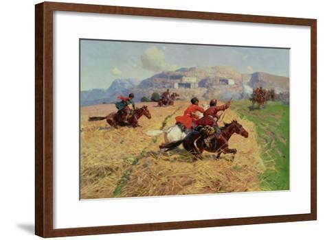 Cossacks Charging into Battle- Roubaud-Framed Art Print