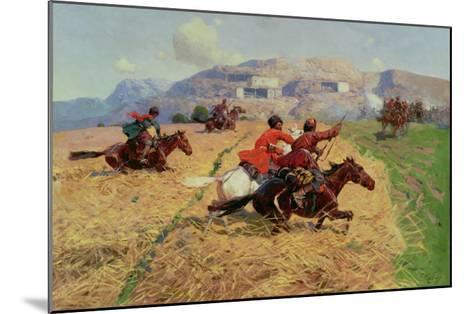 Cossacks Charging into Battle- Roubaud-Mounted Giclee Print