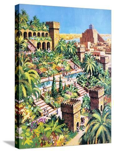 The Hanging Gardens of Babylon- Green-Stretched Canvas Print