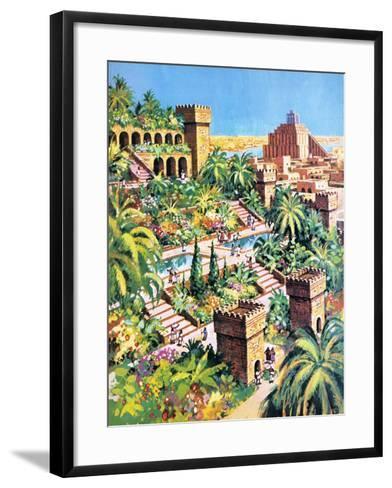 The Hanging Gardens of Babylon- Green-Framed Art Print