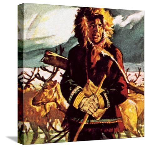 Eskimo with His Reindeer-English School-Stretched Canvas Print