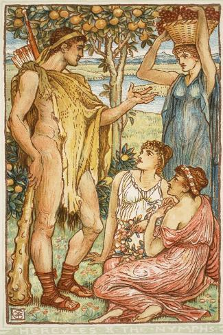 Hercules and the Nymphs-Walter Crane-Stretched Canvas Print