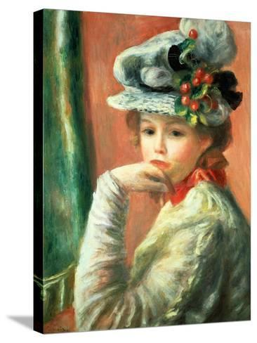 Young Girl in a White Hat-Pierre-Auguste Renoir-Stretched Canvas Print