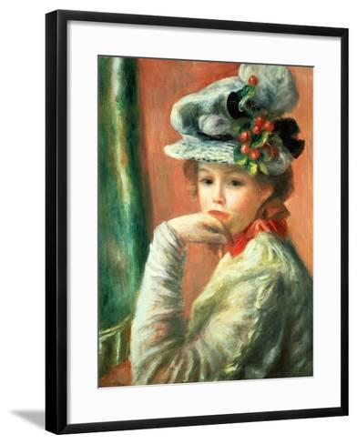 Young Girl in a White Hat-Pierre-Auguste Renoir-Framed Art Print