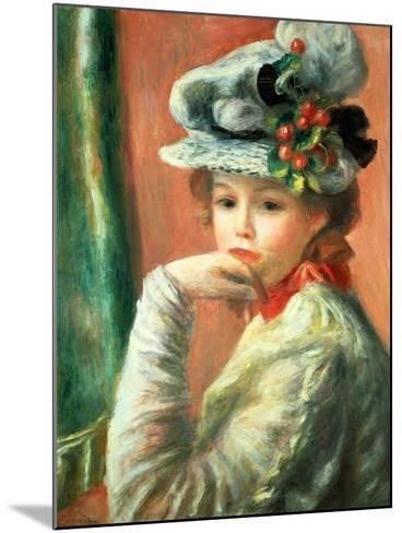 Young Girl in a White Hat-Pierre-Auguste Renoir-Mounted Giclee Print