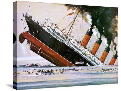 Sinking of the Lusitania-John S^ Smith-Stretched Canvas Print