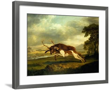 A Hound Attacking a Stag-George Stubbs-Framed Art Print