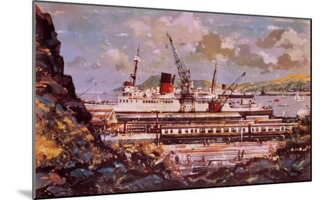 Fishguard Harbour Scene-John S^ Smith-Mounted Giclee Print