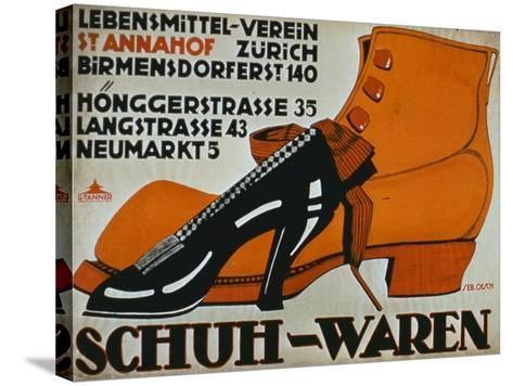 shoe Shops', Zurich-German School-Stretched Canvas Print