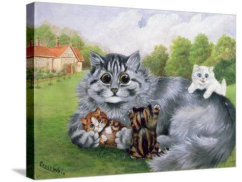 Cat and Her Kittens-Louis Wain-Stretched Canvas Print