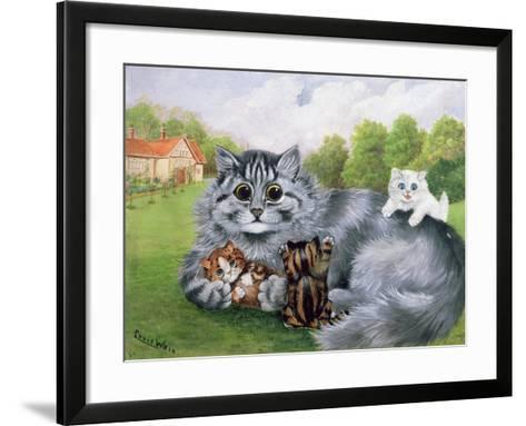 Cat and Her Kittens-Louis Wain-Framed Art Print