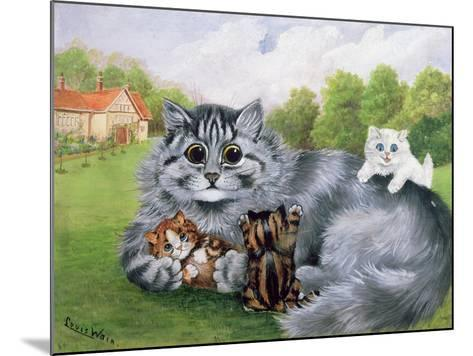 Cat and Her Kittens-Louis Wain-Mounted Giclee Print