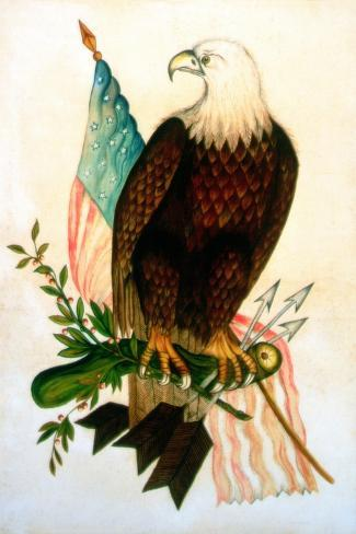 Bald Eagle with Flag-American School-Stretched Canvas Print