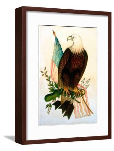 Bald Eagle with Flag-American School-Framed Art Print