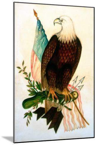 Bald Eagle with Flag-American School-Mounted Giclee Print