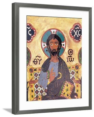 Christ Enthroned-Russian School-Framed Art Print
