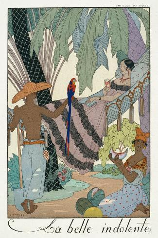 The Idle Beauty-Georges Barbier-Stretched Canvas Print