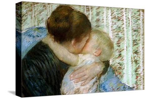 A Goodnight Hug-Mary Cassatt-Stretched Canvas Print