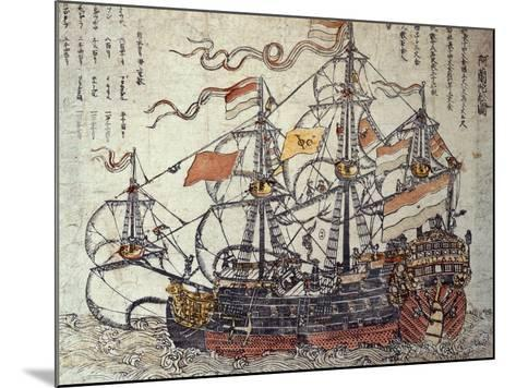 A Dutch Ship-Japanese School-Mounted Giclee Print