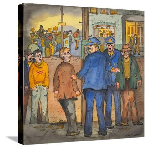 Two Police Officers Arresting Two Drunks on a Street of the Skid Road Area of Seattle-Ronald Ginther-Stretched Canvas Print