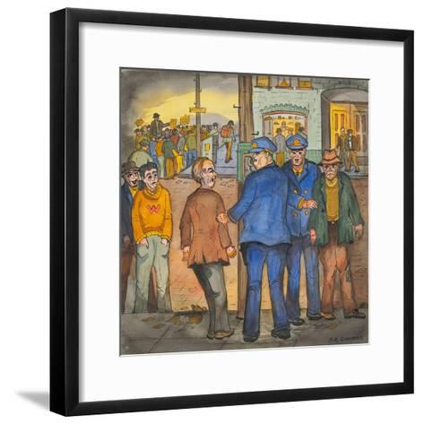 Two Police Officers Arresting Two Drunks on a Street of the Skid Road Area of Seattle-Ronald Ginther-Framed Art Print