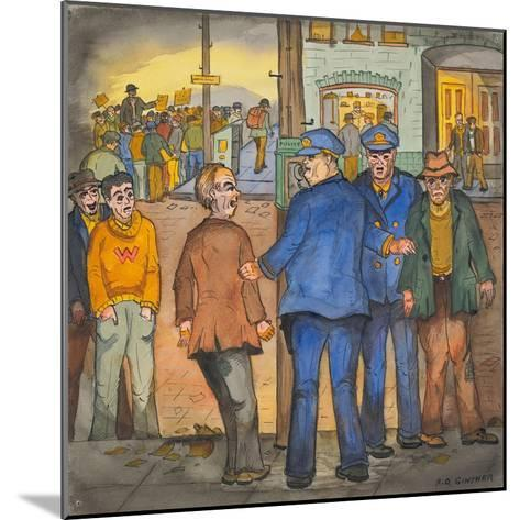 Two Police Officers Arresting Two Drunks on a Street of the Skid Road Area of Seattle-Ronald Ginther-Mounted Giclee Print