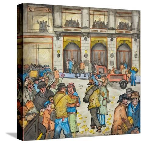 The County-City Building under Siege by Unemployed Demanding Work-Ronald Ginther-Stretched Canvas Print