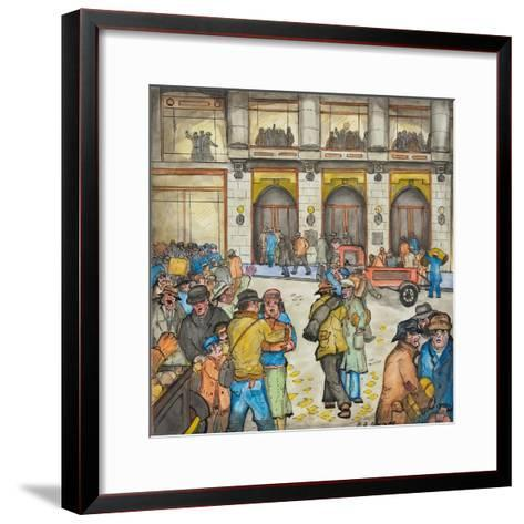 The County-City Building under Siege by Unemployed Demanding Work-Ronald Ginther-Framed Art Print