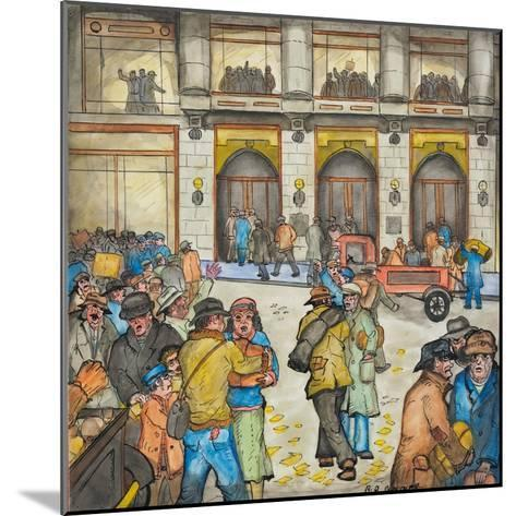 The County-City Building under Siege by Unemployed Demanding Work-Ronald Ginther-Mounted Giclee Print