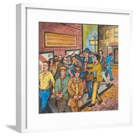 A `Con Man' Selling Toy Wrist Watches for Real Ones on a Seattle Street-Ronald Ginther-Framed Art Print