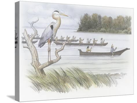 A Heron Perched on a Dead Branch-Roger Cooke-Stretched Canvas Print