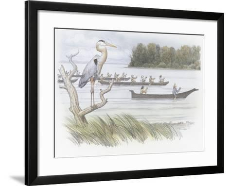 A Heron Perched on a Dead Branch-Roger Cooke-Framed Art Print