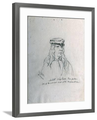 Portrait of Metad Waptass (Three Feathers) One of the Principal Chiefs of the Nez Perces-Gustav Sohon-Framed Art Print
