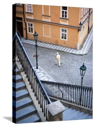 Stairs and Woman Walking, from Charles Bridge-Christopher Groenhout-Stretched Canvas Print