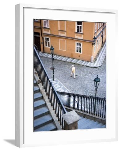 Stairs and Woman Walking, from Charles Bridge-Christopher Groenhout-Framed Art Print